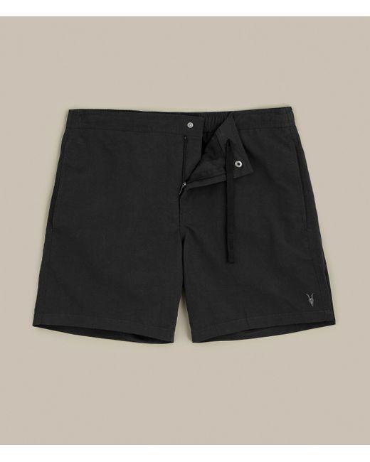 AllSaints Black Warden Swim Shorts for men