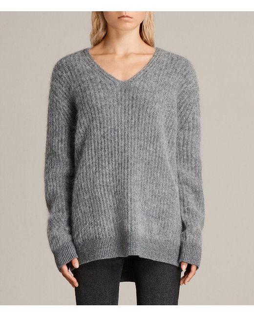 AllSaints - Gray Ade V-neck Sweater - Lyst