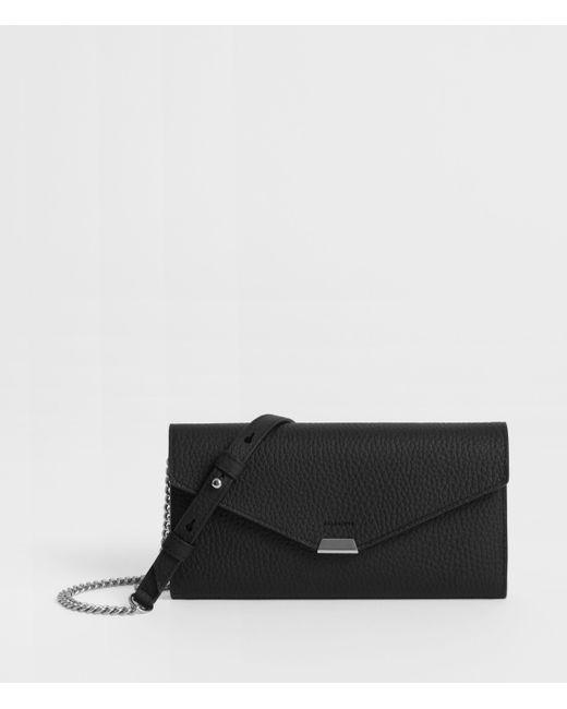 AllSaints Black Captain Leather Chain Wallet