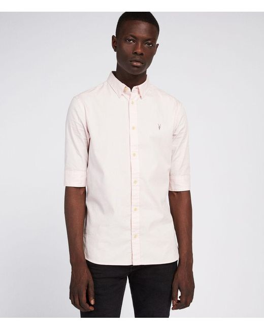 AllSaints - Pink Redondo Half Sleeve Slim Fit Button-down Shirt for Men - Lyst