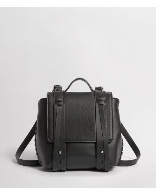 AllSaints Black Fin Leather Mini Backpack