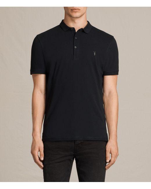 AllSaints | Black Alter Polo Shirt for Men | Lyst
