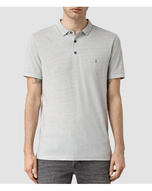 Allsaints alter polo shirt in gray for men lyst for All saints polo shirt