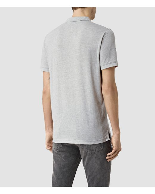 Allsaints alter polo in gray for men mirage blue marl lyst for All saints polo shirt