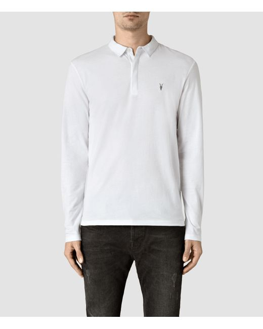 AllSaints | White Brace Long Sleeved Polo Shirt for Men | Lyst