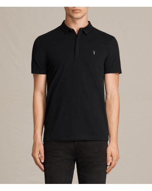 AllSaints | Black Brace Polo Shirt for Men | Lyst