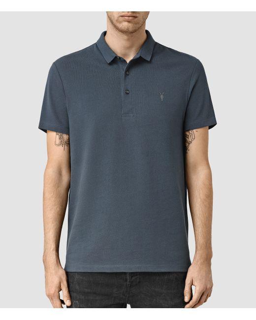 Allsaints Buckingham Polo Shirt In Blue For Men Night