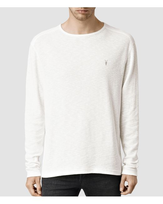 AllSaints | White Clash Long Sleeve Crew T-shirt Usa Usa for Men | Lyst