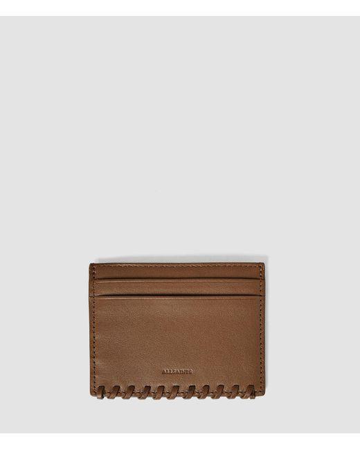 AllSaints   Brown Fleur De Lis Leather Cardholder   Lyst
