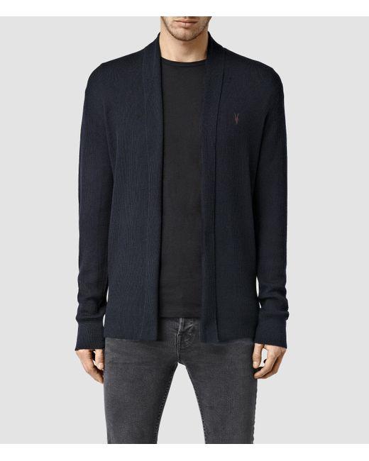 AllSaints | Blue Mode Merino Open Cardigan for Men | Lyst