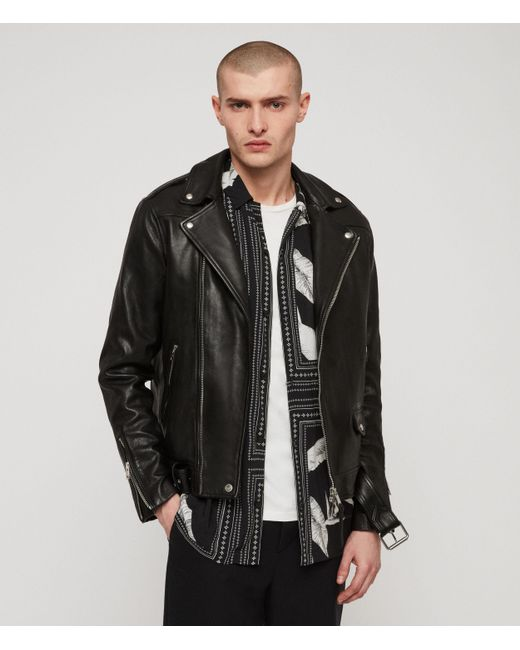 AllSaints Black Manor Leather Biker Jacket for men