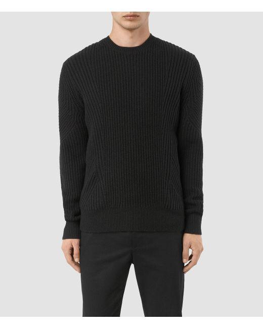 AllSaints Black Hiren Crew Sweater for men
