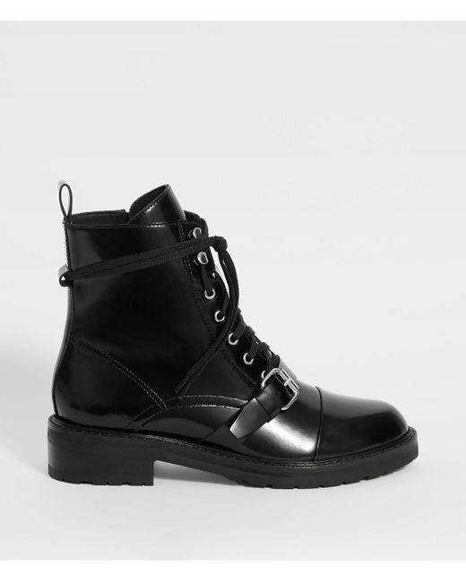 AllSaints Ladies Black Leather Classic Donita Boots, Size: Uk 8/us 10/eu 41