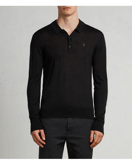 AllSaints - Black Mode Merino Polo Shirt for Men - Lyst