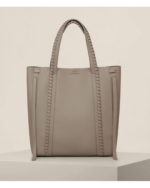 AllSaints Gray Ray North South Leather Tote