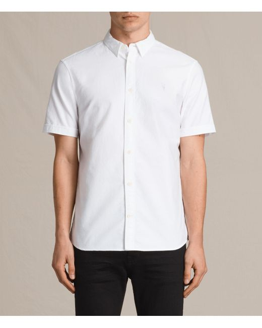 AllSaints | White Hungtingdon Short Sleeve Shirt for Men | Lyst