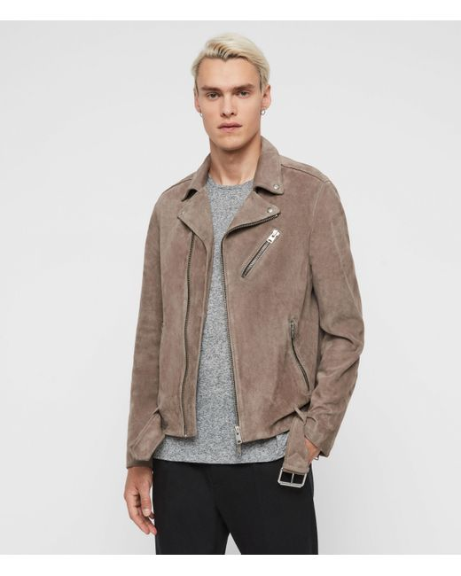 AllSaints Gray Rigg Suede Biker Jacket for men