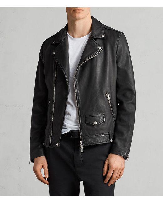 Allsaints Milo Leather Biker Jacket In Black For Men Save