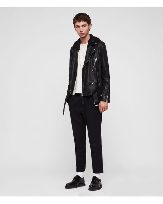 AllSaints Black Renzo Leather Biker Jacket for men