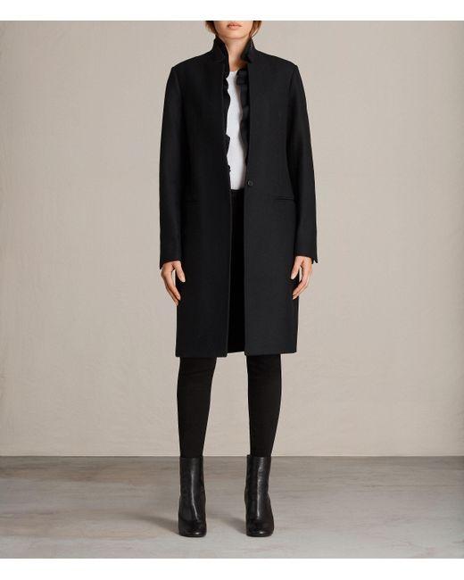 AllSaints   Black Mae Ruffle Coat   Lyst