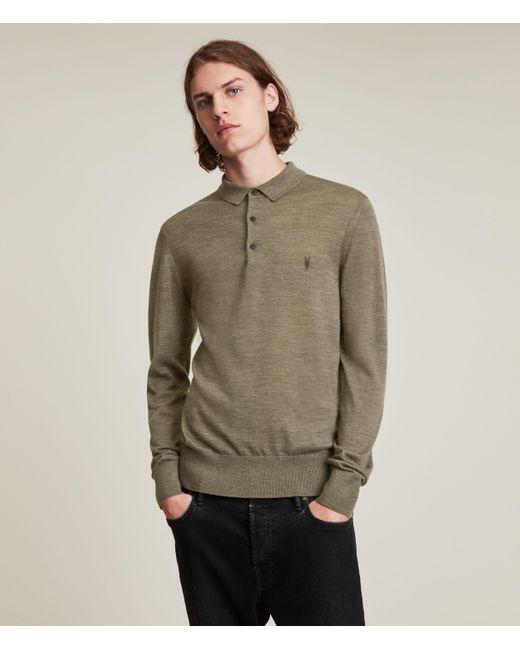 AllSaints Men's Mode Merino Long Sleeve Polo Shirt Nettle Green Marl Size: Xs for men