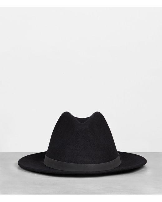 AllSaints Black Bronson Wool Fedora Hat for men