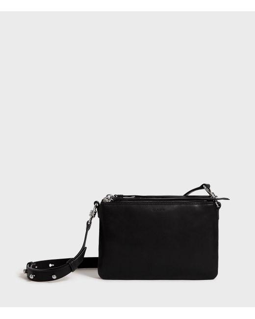 AllSaints Black Captain Leather Zip Crossbody Bag