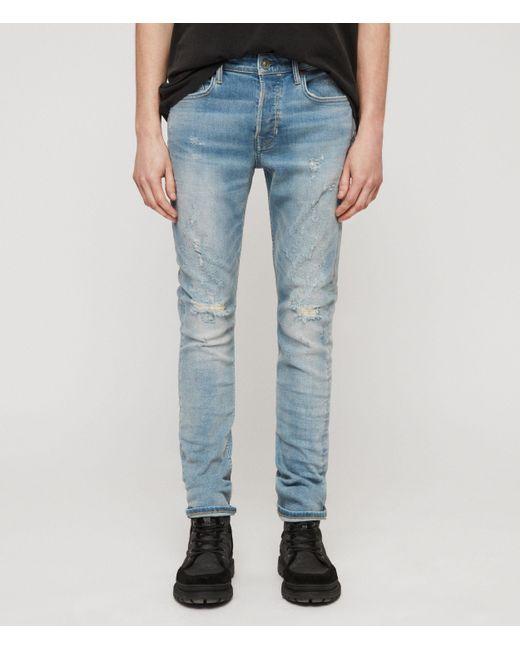 AllSaints Cigarette Damaged Skinny Jeans, Light Indigo Blue for men