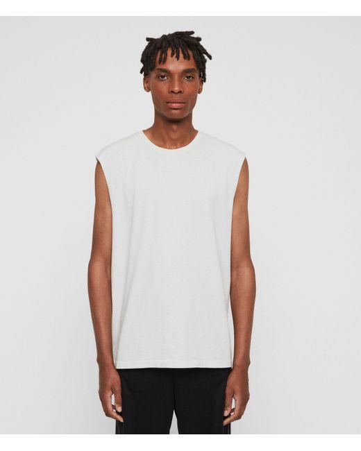 AllSaints White Acetic Sleeveless Crew T-shirt for men