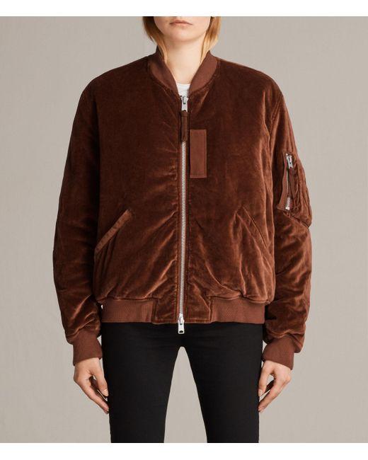 AllSaints | Brown Nash Bomber Jacket | Lyst