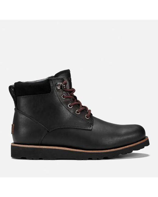 Ugg | Black Men's Seton Tl Waterproof Leather Lace Up Boots for Men | Lyst