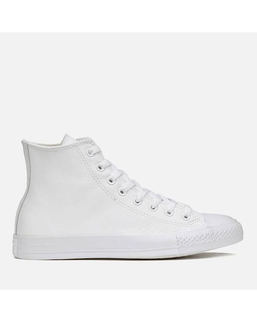 Converse - White Unisex Chuck Taylor All Star Leather Hi-top Trainers - Lyst