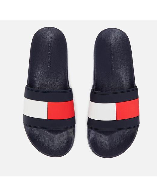 Tommy Hilfiger Blue Essential Flag Pool Slide Sandals for men