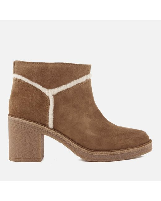 Ugg - Brown Women's Kasen Suede Heeled Ankle Boots - Lyst