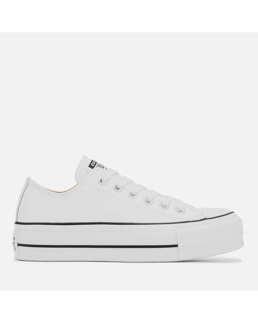 Converse - White Chuck Taylor All Star Lift Clean Ox Trainers - Lyst