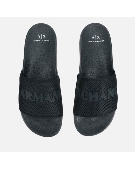 Armani Exchange Blue Mesh Slide Sandals for men