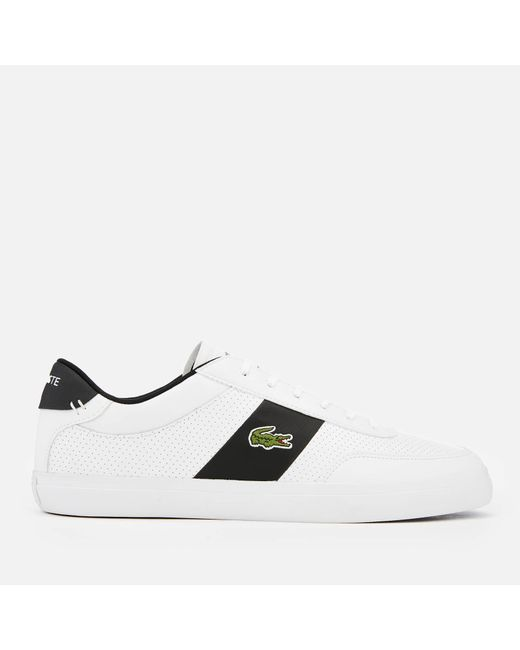 6a8a5550d54e13 Lacoste - White Court-master 119 2 Perforated Leather Trainers for Men -  Lyst ...