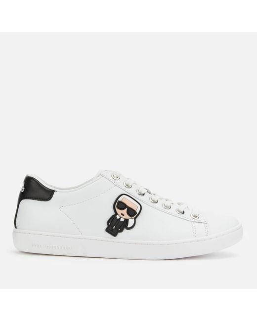 Karl Lagerfeld White Kupsole Ii Karl Ikonic Leather Cupsole Trainers