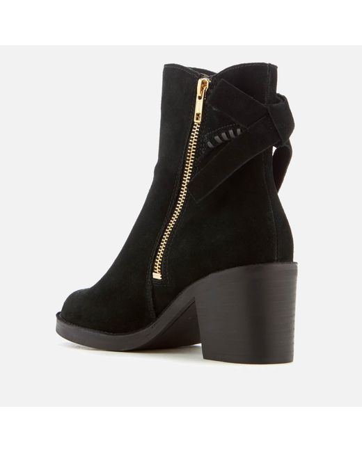 5d829144e90 Lyst - UGG Women's Fraise Whipstitch Suede Heeled Ankle Boots in Black