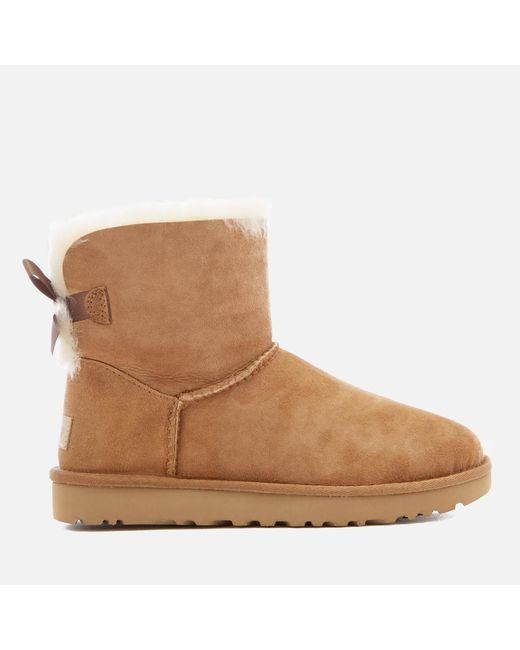 Ugg - Brown Women's Mini Bailey Bow Ii Sheepskin Boots - Lyst