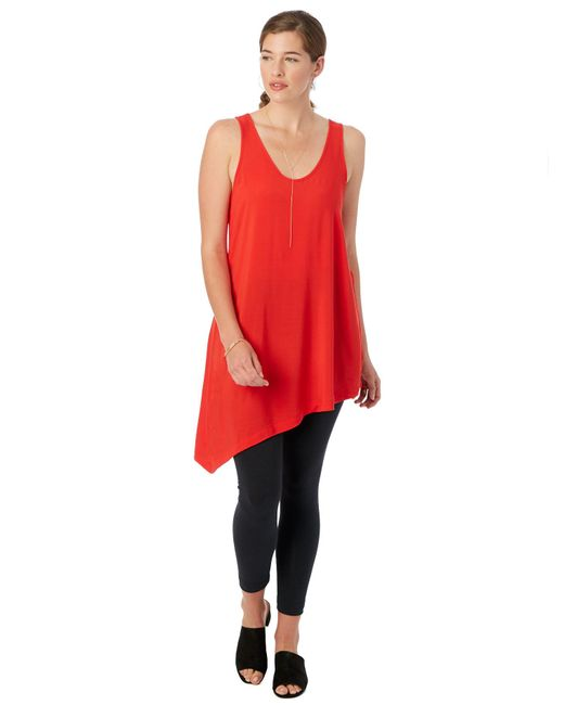 Alternative Apparel | Red Rayon Challis Asymetrical Tank Tunic | Lyst