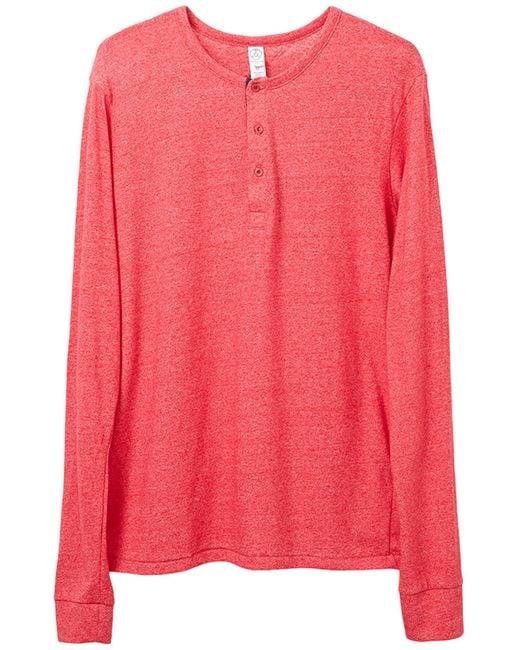 Alternative Apparel Red Basic Eco-mock Twist Henley Shirt for men