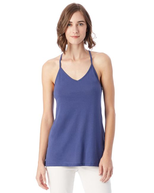 Alternative Apparel - Blue Strappy Satin Jersey Tank Top - Lyst