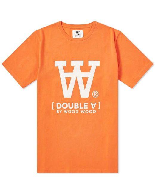 WOOD WOOD Ace Large Aa Tee - Orange for men