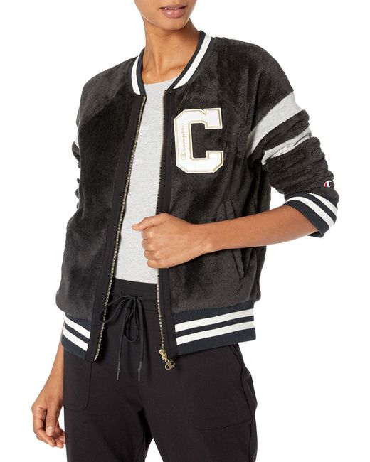 Champion Black Super Fleece Faux Fur Jacket-felt C