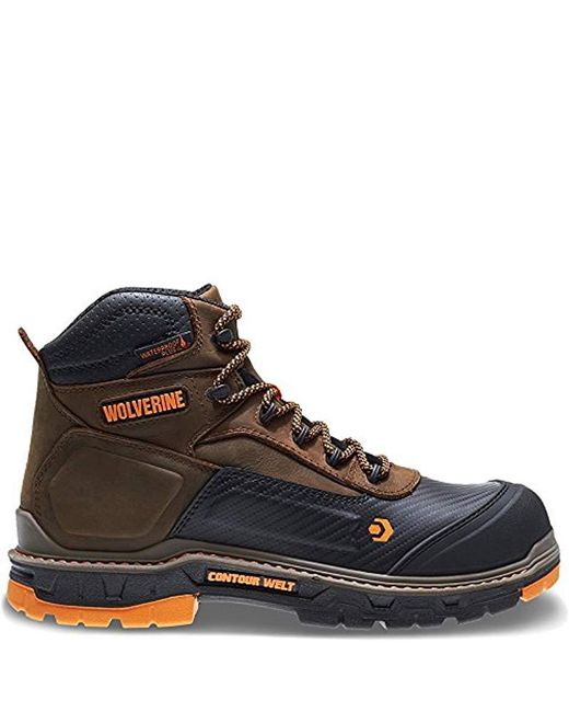 "Wolverine Brown Overpass 6"" Composite Toe Waterproof Work Boot for men"