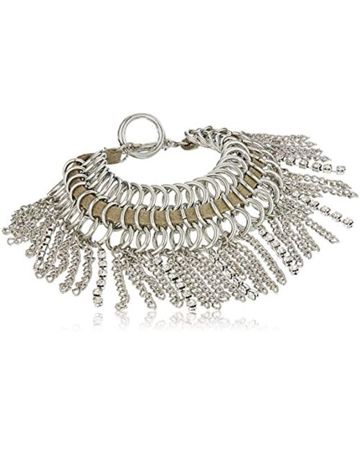 Guess - Metallic Nude Metals Fringe Toggle Bracelet, Silver, One Size - Lyst