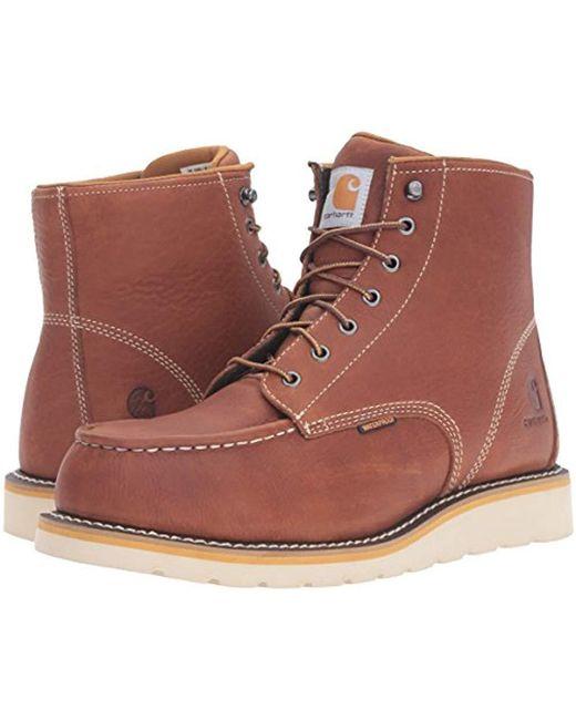 2cdc439a824 Men's Brown 6-inch Steel Toe Waterproof Wedge Boot