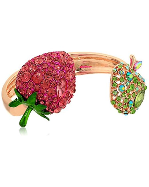 Betsey Johnson - Multicolor S Strawberry And Apple Hinge Bracelet - Lyst