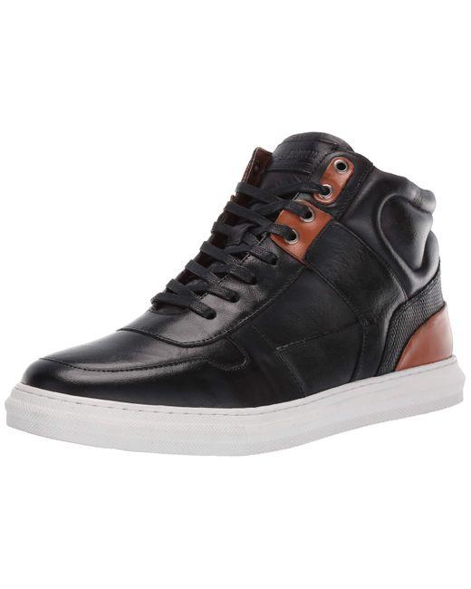 Steve Madden Black Sharper Leather Hi-top Sneaker for men